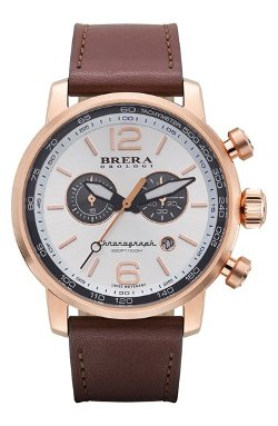 Brera  - Dinamico Chronograph Leather Strap Watch