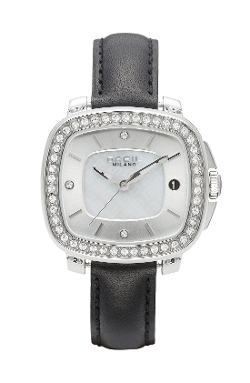 Breil - Capital Crystal Bezel Leather Watch