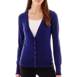 Worthington - Essential Long-Sleeve V-Neck Cardigan Sweater