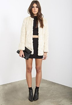 Forever 21 - Collarless Faux Fur Jacket