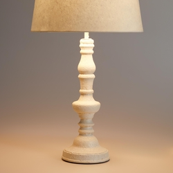 Cost Plus - Distressed Wooden Candlestick Accent Lamp Base