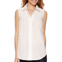 Liz Claiborne - Sleeveless Button-Front Blouse