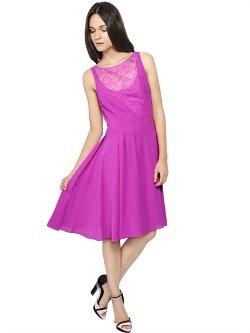 Nina Ricci - Silk Crepe Chiffon & Lace Dress
