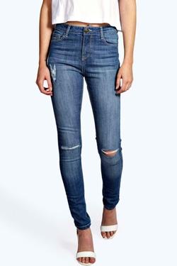Boohoo Blue - Lara High Rise Ripped Skinny Jeans