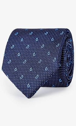 Express - Paisley Micro Dot Print Narrow Silk Tie