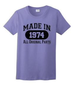 ThisWear  - Made in 1974 40th Birthday Distressed Look Ladies T-Shirt