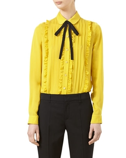 Gucci  - Pleated Silk Satin Shirt