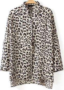 Romwe - Leopard Print Loose Blouse