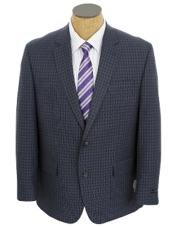Andrew Fezza - 2 Button Navy Blue Check Sport Coat Jacket