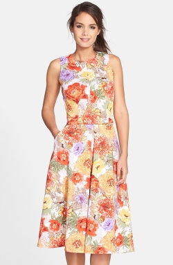 Gabby Skye - Floral Print Scuba Two-Piece Dress