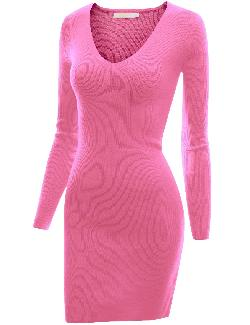 Doublju  - Fitted Long Sleeve Knit Jersey Dress