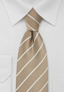 Puccini - Beige Striped Extra Long Necktie