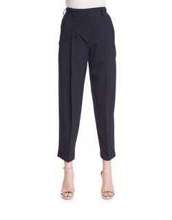 DKNY - Cuffed High-Rise Pinstripe Ankle Pants