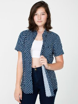 American Apparel - Printed Rayon Short Sleeve Button-Up Shirt