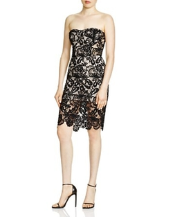 Olivaceous - Strapless Lace Dress