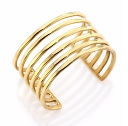 Taylor And Tessier - Wire Hammered Multi-Row Cuff Bracelet