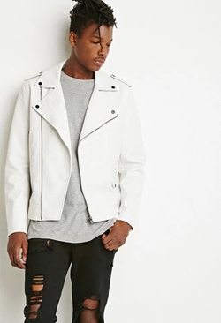 21 Men - Faux Leather Moto Jacket