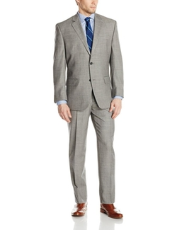 Bill Blass  - Trent Shark Two Button Side Vent Suit With Flat Front Pants