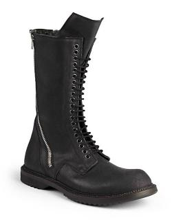 Rick Owens  - Double Zip Mid-Calf Leather Combat Boots