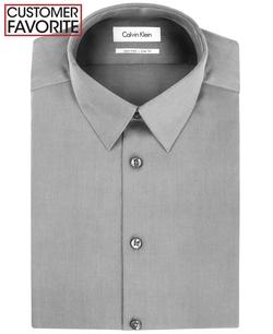 Calvin Klein - Steel Slim-Fit Textured Solid Dress Shirt