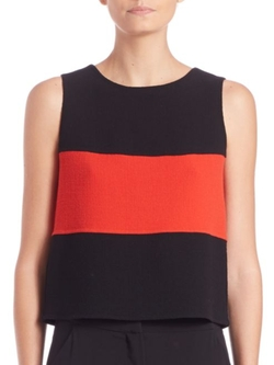 Armani Collezioni  - Colorblock Double-Face Crepe Tank Top