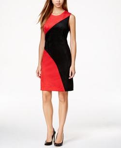 Calvin Klein - Colorblocked Faux-Suede Sheath Dress