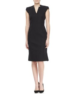 Zac Posen  - Cap Sleeve V-Neck Day Dress