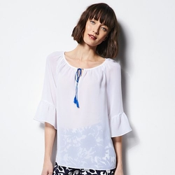 Milly  - DesigNation Ruffled Peasant Blouse