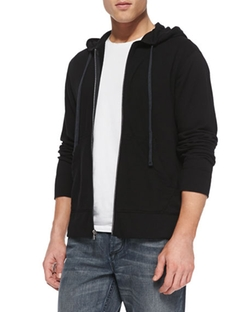 James Perse  - Cotton-Knit Zip Hoodie
