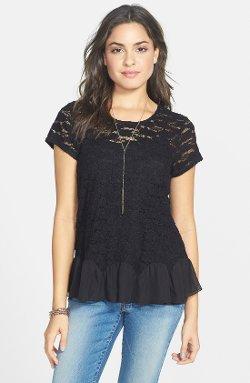 Frenchi - Ruffle Hem Lace Tee Shirt