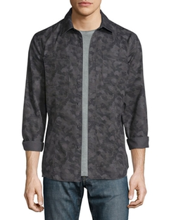 John Varvatos Star USA  - Camo-Print Button-Down Shirt Jacket