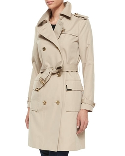 Michael Michael Kors -  Beverly Short Sateen Trench Coat