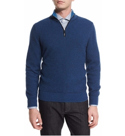 Ermenegildo Zegna - Waffle-Knit Quarter-Zip Pullover Sweater