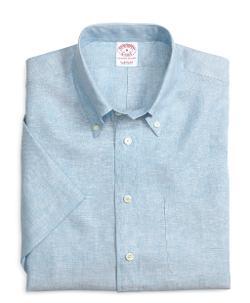 BROOKS BROTHERS - Regular Fit Solid Short-Sleeve Linen Sport Shirt