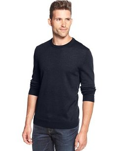 Club Room  - Solid Merino-Blend Crew-Neck Sweater