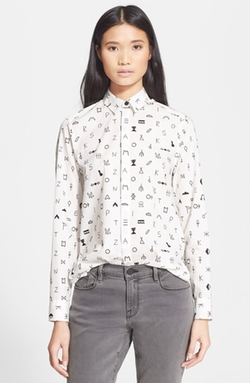 Kenzo - Symbol Print Long Sleeve Cotton Shirt