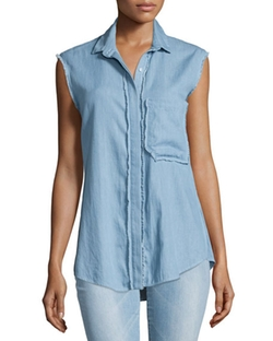 N Nicholas - Chambray Button-Front Sleeveless Shirt