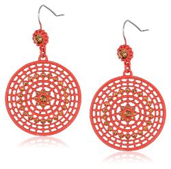 Jessica Simpson  - Red and Peach Disc Drop Earrings