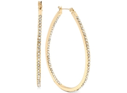 Hint of Gold  - Large Oval Crystal Hoop Earrings