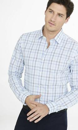 Express - Fitted Graph Check Plaid Dress Shirt