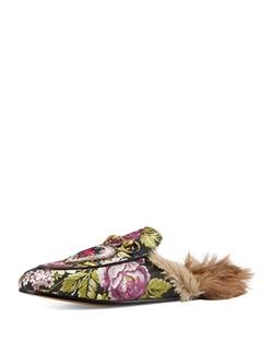 Gucci  - Princetown Jacquard Fur-Lined Mule