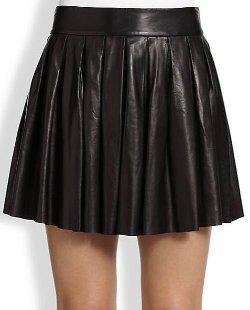 Alice + Olivia  - Pleated Leather Skirt