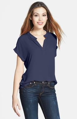 Pleione - Split Neck Blouse