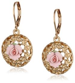 1928 Jewelry - Porcelain Rose Drop Earrings
