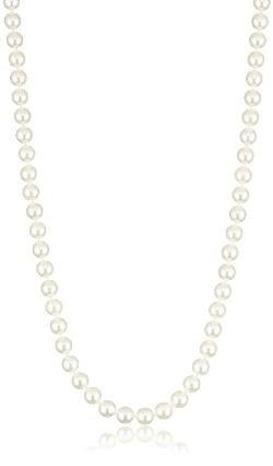 Radiance Pearls  - 14K Gold Clasp 6.0-6.5mm White Japanese Akoya Cultured Pearl Necklace