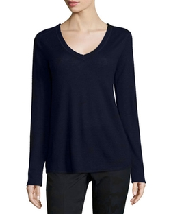 ATM  - V-Neck Raw-Edge Cashmere Sweater