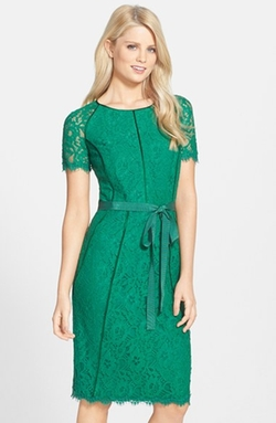 Nue By Shani - Ribbon Waist Lace Sheath Dress