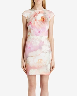 Quaro - Rose On Canvas Fitted Dress