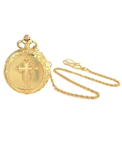 Bling Jewelry - Religious Cross Pocket Watch