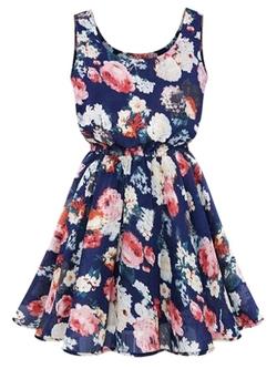 Choies - Floral Print Vest Skater Dress